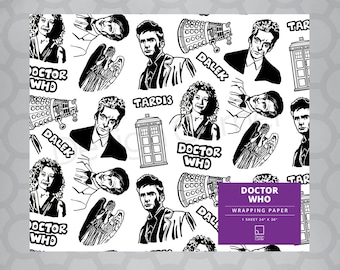 """Doctor Who Gift Wrap or Coloring 24""""x36"""" Sheet"""