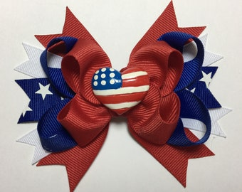 Patriotic Heart Layered Bow - Fourth of July Hairbow - Red white and blue - Patriotic Hairbow - Flag Bows - Stars Ribbon