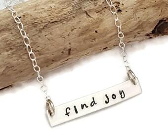 Bar Necklace - Find Joy Bar necklace - Sterling Silver bar necklace - Christmas for mom - Christmas for girl - Personalized bar necklace