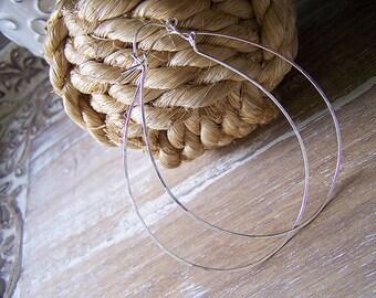 Sterling Silver Pear Cactus Hoop Earrings, Pear Hoops, Silver Lever Style Hoop Earrings