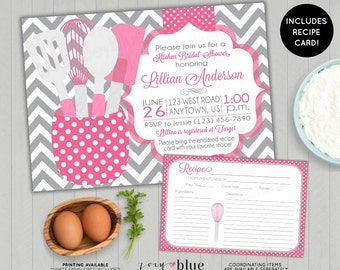 Pink Stock the Kitchen Bridal Shower Invitation with Recipe Card Printable Bubblegum Pink Grey Chevron Teal Gray Printable Digital File