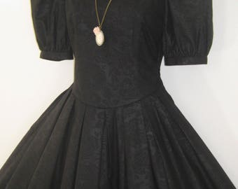 LAURA ASHLEY Vintage Black Rose Damask Floor-Length Special Occasion Gown, UK 8/10