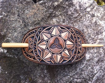 Geometric Triquetra hand carved leather hair barrette - tooled leather jewelry