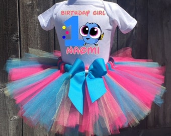 Dory Birthday Outfit, Dory First Birthday Outfit, Custom Dory Birthday Tutu Set, Personalized Dory Birthday Shirt, Dory Birthday Tutu