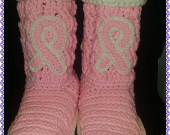 Crochet Breast Cancer Awareness Slipper Boots