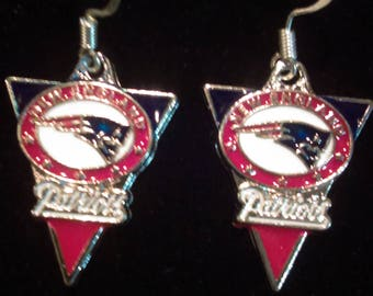 New England Patriots Football Banner Shaped Earrings on 925 Sterling Hooks