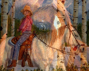 NOTE CARD, multi exposure,forest, whoateam, cowgirl, water, aspen trees, horses, western decor, horse decor, mountains, Ellen Strope