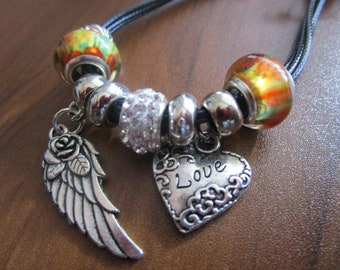 Wing and Heart Charm Bracelet