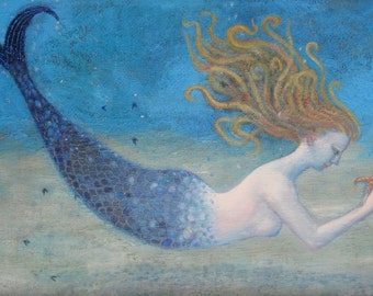 """Signed A5 Limited Edition Giclee Print """"Mermaid"""" from an original oil painting. By Laura Robertson"""