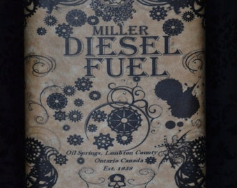 Steam Punk Flask: Diesl Fuel, Furnace Oil, Kerosene, Mercury - 8oz Stainless Steel Flask