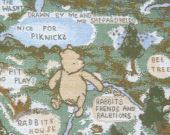 Winnie the Pooh Hundred Acre Wood Tapestry Fabric, Upholstery Fabric, Blanket Fabric, Brocade, Winnie the Pooh Fabric, Tigger,  1.5 Yards