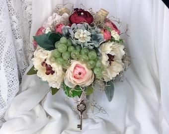 Vineyard Wedding Flowers-Bridal Bouquet-Brides Flowers-Country Wedding Bouquet-Grape Wedding flowers-Rustic-Wine-Garden Wedding Bouquet