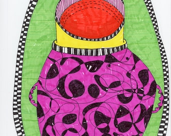 Miró's Etruscan Urn - Original Mixed Media Art