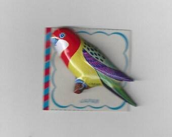 Vintage Japan Lithograph Parakeet Bird Tin Pin, 1960s