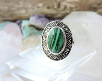 Sterling Silver Ring Malachite/Size 7.5