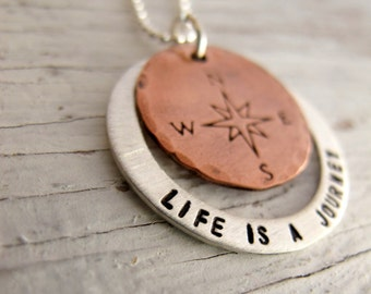 Life is a Journey, Not a Destination, Compass Necklace, Mixed Metals, Sterling and Copper, Inspirational Jewelry, Christmas Gift