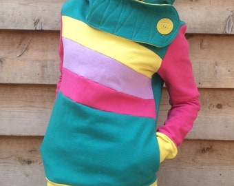 CORAL REEF Handmade Hoodie Recycled Upcycled One of a Kind Ladies SMALL - Cute Pockets Color Block Colorful Teal