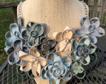 Pastel Blue Vintage Zipper Flower Necklace