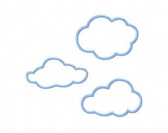 Baby Applique Machine Embroidery Design Plain Clouds