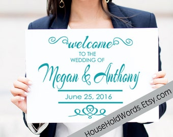 Wedding Stake Corrugated Yard Sign, Welcome to the Wedding Of , Metal Yard Stake, Custom Wedding Signs, 24 x 18, Bride and Groom Sign