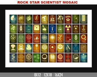 Science Classroom Art Print. Geek Decor. Educational Poster. School Art. Science Illustration Teacher Gift. Science Art Rock Star Scientists