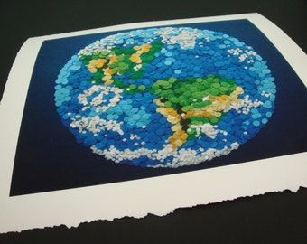 Dotted Planet Earth - Large Giclee Professionally Printed with Archival Ink on Watercolor Paper 16X20 - Etsy & NASA Contest Entry DDOTS