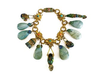 Chinese Export Turquoise Coral Charm Bracelet - Chinese Bracelet, Enamel Charms, Gilt Gold Wash, Made in China, Antique Jewelry