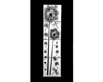 Photo Print on Ceramic Tiles -Framed - Dandelions & Dragonflies -Wall Decor