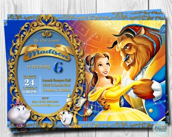 Beauty and the Beast Invitation, Princess Belle Invitations, Belle Invitation, DIGITAL or PRINTED