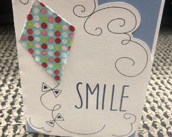 Hand made Smile card with kite blank inside greating card