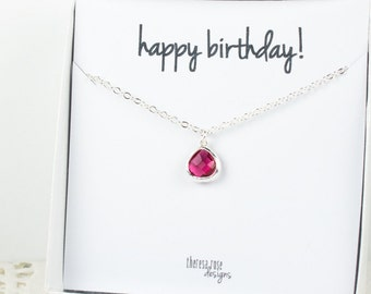Tiny July Birthstone Silver Necklace, Ruby Necklace, Silver Necklace, July Birthday Gift, Bridesmaid Jewelry, Gifts Under 20
