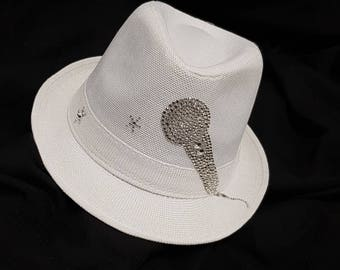 hat - fashion - fedora - hat & caps - fedora hats for women-singer - white-microphone-shining-summer-Accessories-Hip hop-mother