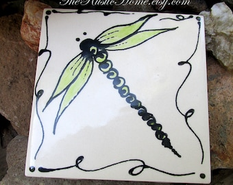 Dragonfly ceramic coaster rustic dragonflies tile coasters order individually 4x4 choose colors