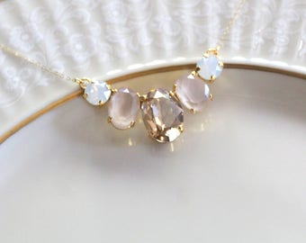 Gold Bridal necklace, Opal necklace, Bridal jewelry, Crystal Wedding necklace, Swarovski crystal, Oval stone necklace, Wedding jewelry