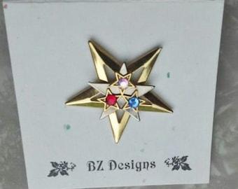Patriotiques étoiles - rouge, blanc et bleu cristaux autrichiens Tack broche