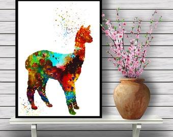 Llama print, Animal Poster, Colorful llama, Room Decor, Watercolor Artwork, Bright Colors, Poster, print, gift, (02)