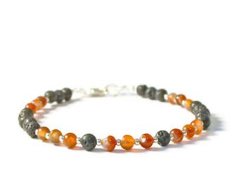 Lava Rock and Red Agate Aromatherapy Essential Oil Bracelet, Diffusing Jewelry