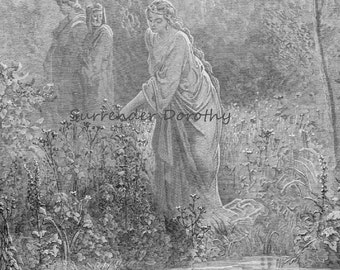 Dantes Dream of Leah in the Meadow Purgatorio Gustave Dore Canto 27 Vintage Engraving To Frame Black & White