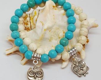 Turquoise Bead Owl Charm Bracelet