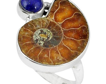 Ammonite Fossil and Lapis Sterling Silver Ring  Size 9