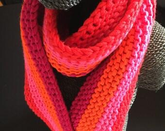 HAND KNIT SCARF with Fringe  Red, Orange, Pink, Dark Purple