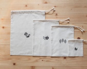 Cotton Storage Pouches Set with handmade print