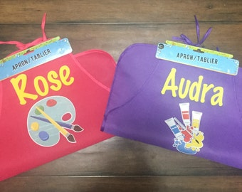 Personalized kids aprons - play apron - craft apron - messy play