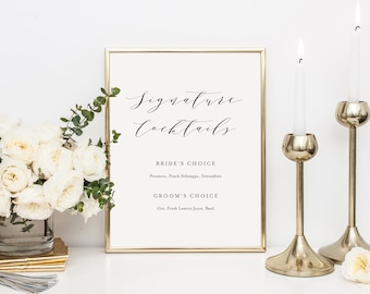 Editable Template - Instant Download Soft Calligraphy Signature Cocktails Bar Sign