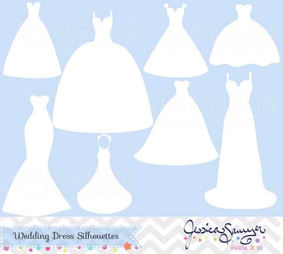 instant download white wedding dress clipart silhouette rh etsy com wedding dress clipart png wedding dress clipart png
