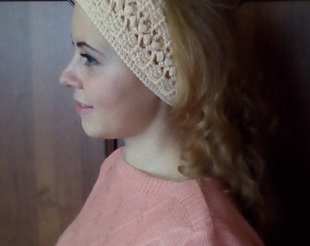 Knitted Headband Ear Warmers Handmade, Knitted Headband Handmade Warm Headband Ear Warmers, Headband with Adjustable Length, Woolen Headband