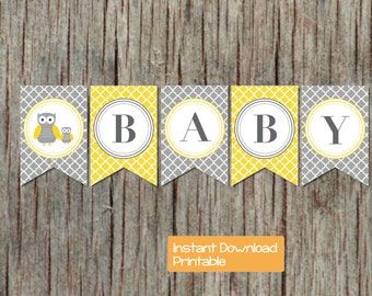 Baby Shower Banner Yellow Grey Owl Printable Quatrefoil INSTANT DOWNLOAD DIY pdf Sweet Baby Shower Party Decorations Banner Boy or Girl 062