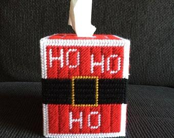 Christmas Ho Ho Ho Handmade Plastic Canvas Tissue Box Cover, Holiday Tissue Topper