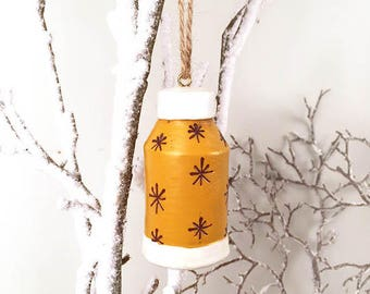 Yellow Thermos Ornament, Holiday Ornament, Thermos Ornament, Christmas Ornament, Resin Ornament, Resin Thermos Ornament