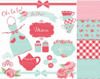Kitchen Tea Clipart Combo - Shabby Chic Roses, farmhouse kitchen, Tea Party, digital clip art, digital images, commercial use clipart